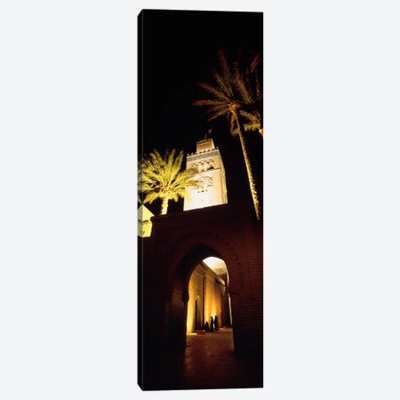 Low angle view of a mosque lit up at night, Koutoubia Mosque, Marrakesh, Morocco Canvas Print #PIM4381} by Panoramic Images Canvas Art