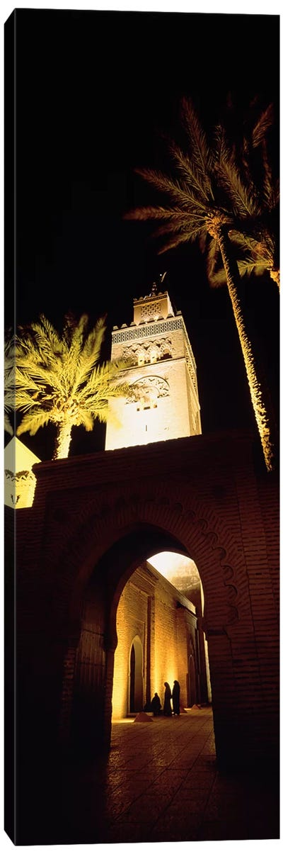 Low angle view of a mosque lit up at night, Koutoubia Mosque, Marrakesh, Morocco Canvas Art Print