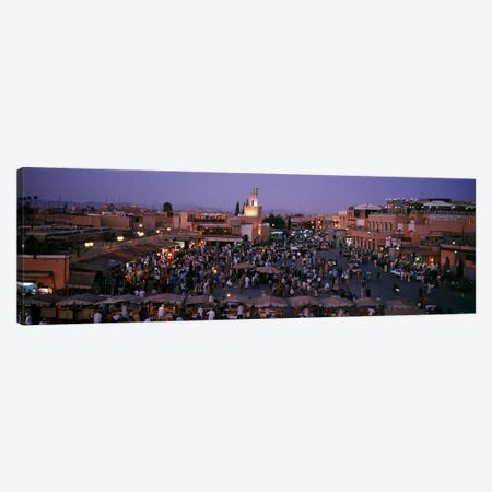 Jamaa el Fna At Night, Marrakech, Morocco 3-Piece Canvas #PIM4384} by Panoramic Images Art Print