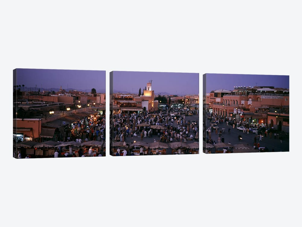 Jamaa el Fna At Night, Marrakech, Morocco by Panoramic Images 3-piece Canvas Wall Art