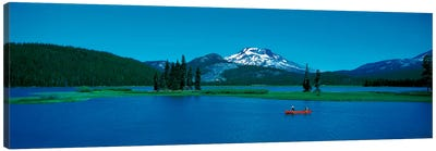 South Sister canoeing Sparks Lake OR USA Canvas Art Print