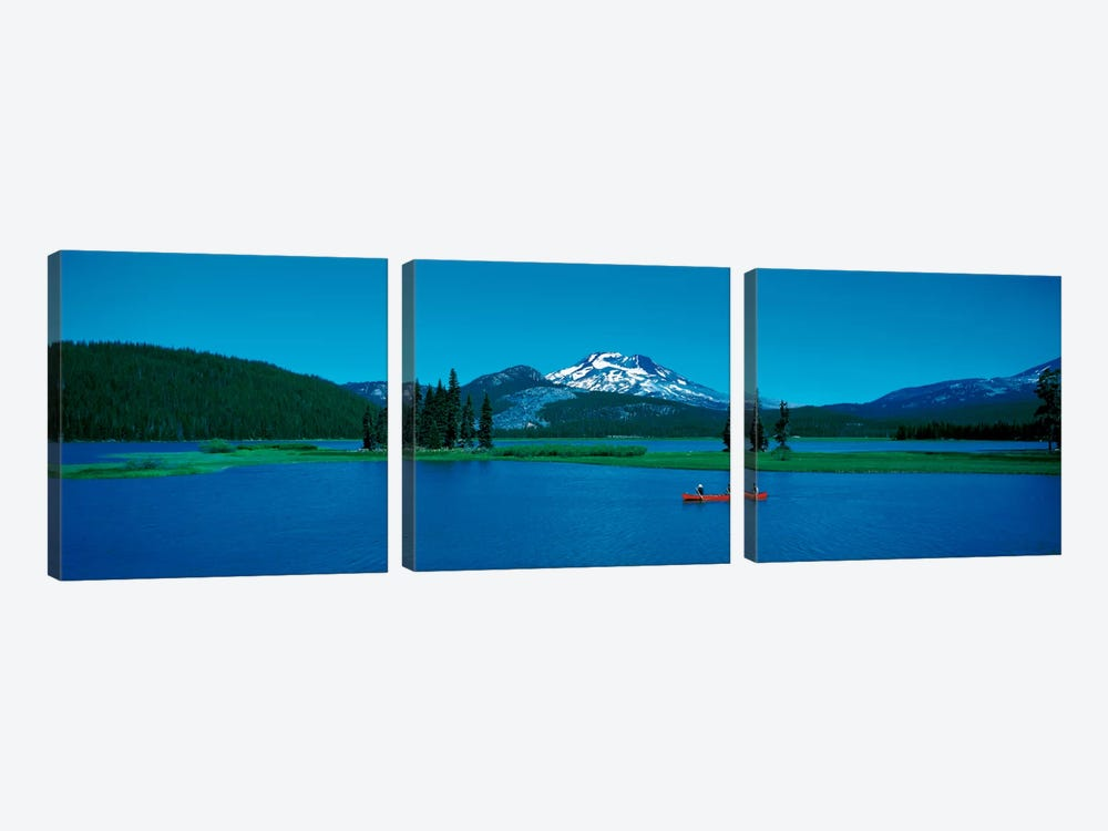 South Sister canoeing Sparks Lake OR USA 3-piece Canvas Artwork