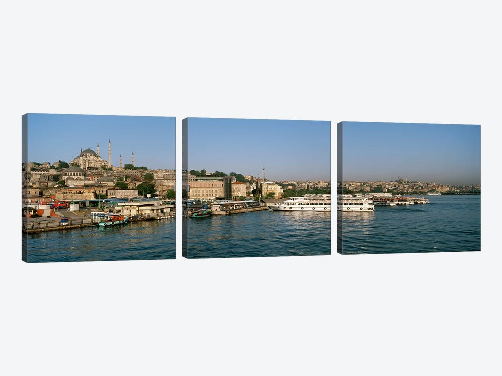 Buildings at the waterfront, Istanbul, Turkey by Panoramic Images 3-piece Canvas Wall Art