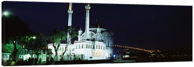 Mosque at the waterfront near a bridge, Ortakoy Mosque, Bosphorus Bridge, Istanbul, Turkey Canvas Art Print