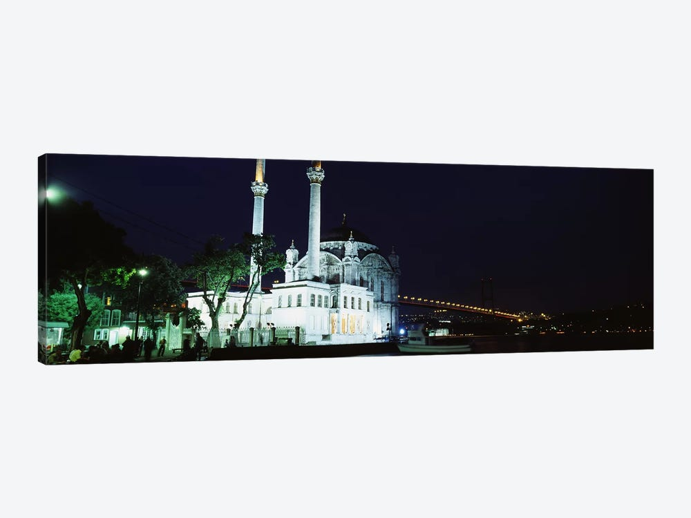 Mosque at the waterfront near a bridge, Ortakoy Mosque, Bosphorus Bridge, Istanbul, Turkey by Panoramic Images 1-piece Art Print