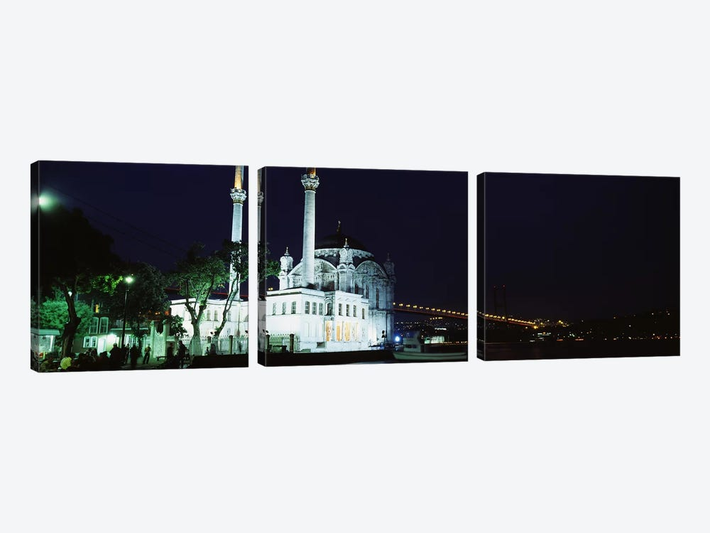 Mosque at the waterfront near a bridge, Ortakoy Mosque, Bosphorus Bridge, Istanbul, Turkey by Panoramic Images 3-piece Art Print