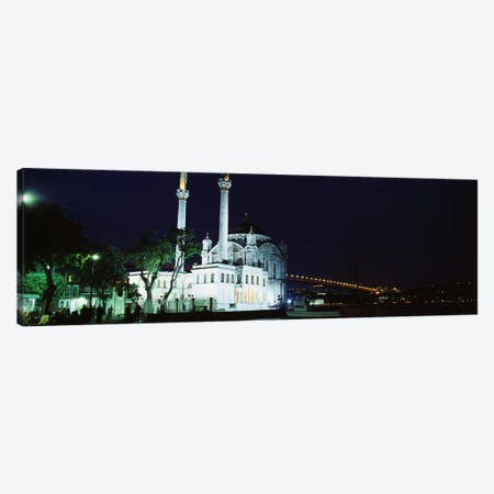 Mosque at the waterfront near a bridge, Ortakoy Mosque, Bosphorus Bridge, Istanbul, Turkey Canvas Print #PIM4396} by Panoramic Images Canvas Wall Art