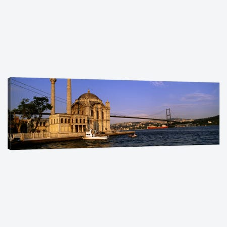 Mosque at the waterfront near a bridge, Ortakoy Mosque, Bosphorus Bridge, Istanbul, Turkey #2 Canvas Print #PIM4397} by Panoramic Images Canvas Wall Art