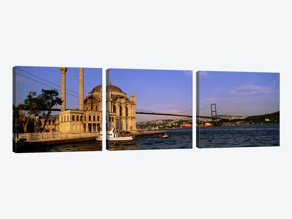 Mosque at the waterfront near a bridge, Ortakoy Mosque, Bosphorus Bridge, Istanbul, Turkey #2 by Panoramic Images 3-piece Canvas Wall Art
