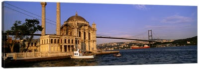 Mosque at the waterfront near a bridge, Ortakoy Mosque, Bosphorus Bridge, Istanbul, Turkey #2 Canvas Art Print