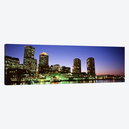 Skyscrapers at the waterfront lit up at night, Boston, Massachusetts, USA Canvas Print #PIM4411} by Panoramic Images Canvas Wall Art