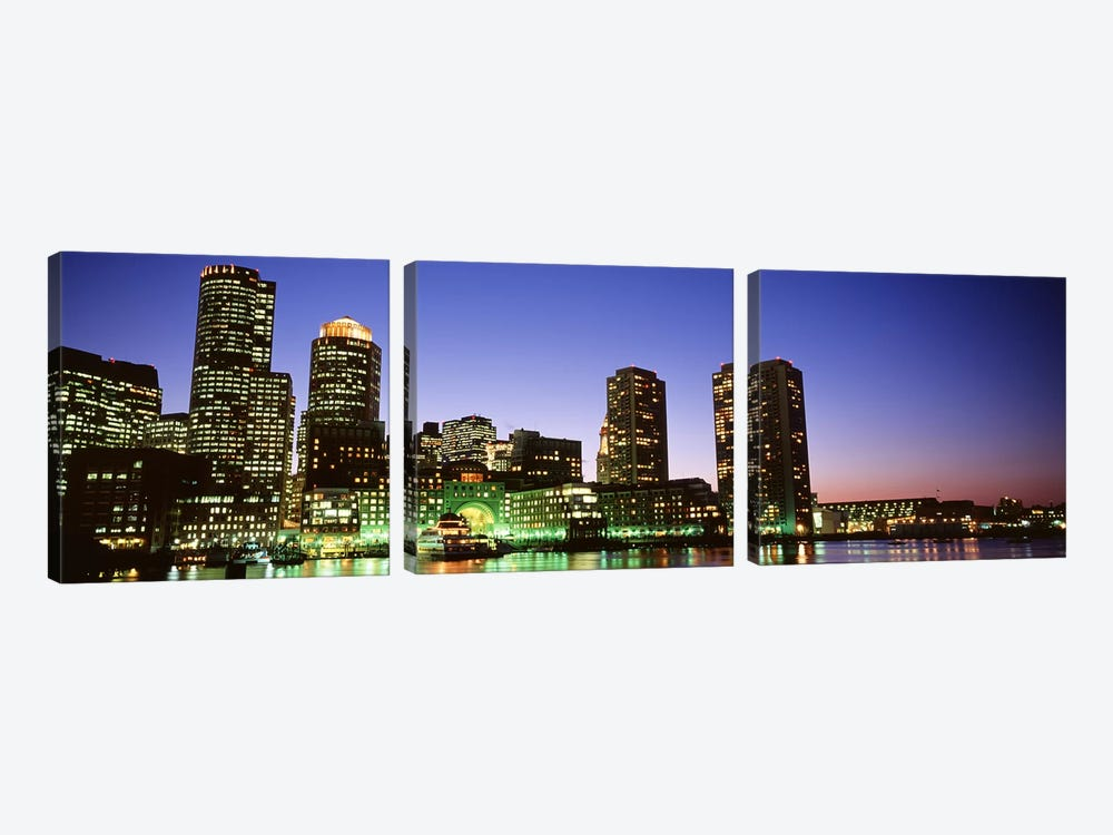 Skyscrapers at the waterfront lit up at night, Boston, Massachusetts, USA by Panoramic Images 3-piece Art Print
