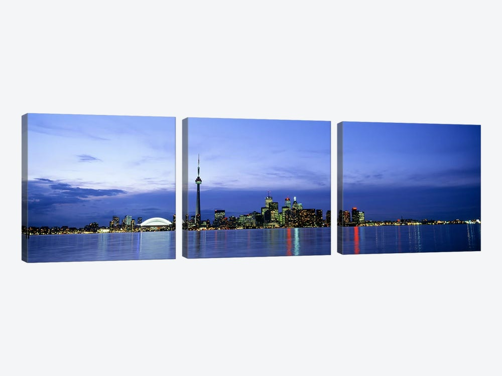 Downtown Skyline At Dusk, Toronto, Ontario, Canada by Panoramic Images 3-piece Canvas Wall Art