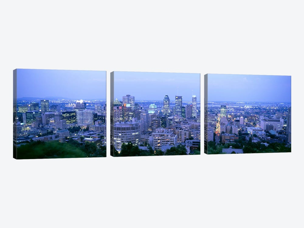 Downtown Skyline At Dusk, Montreal, Quebec, Canada by Panoramic Images 3-piece Art Print