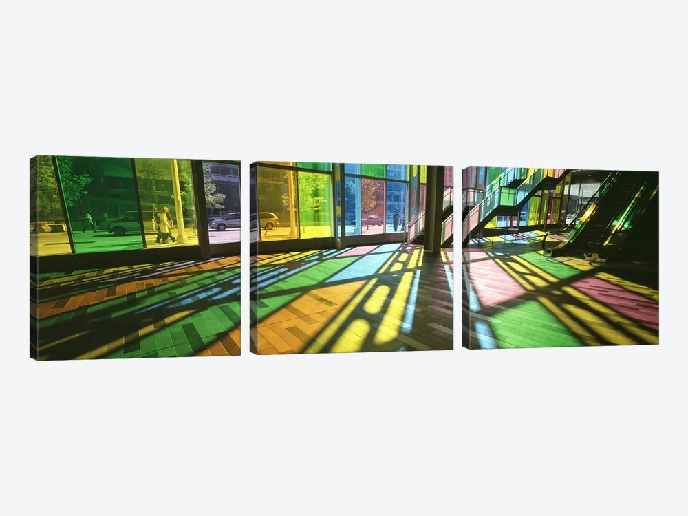 Colorful Shadows Of Kaleidoscope Wall (TransLucide), Palais des Congres de Montreal, Quebec, Canada by Panoramic Images 3-piece Art Print