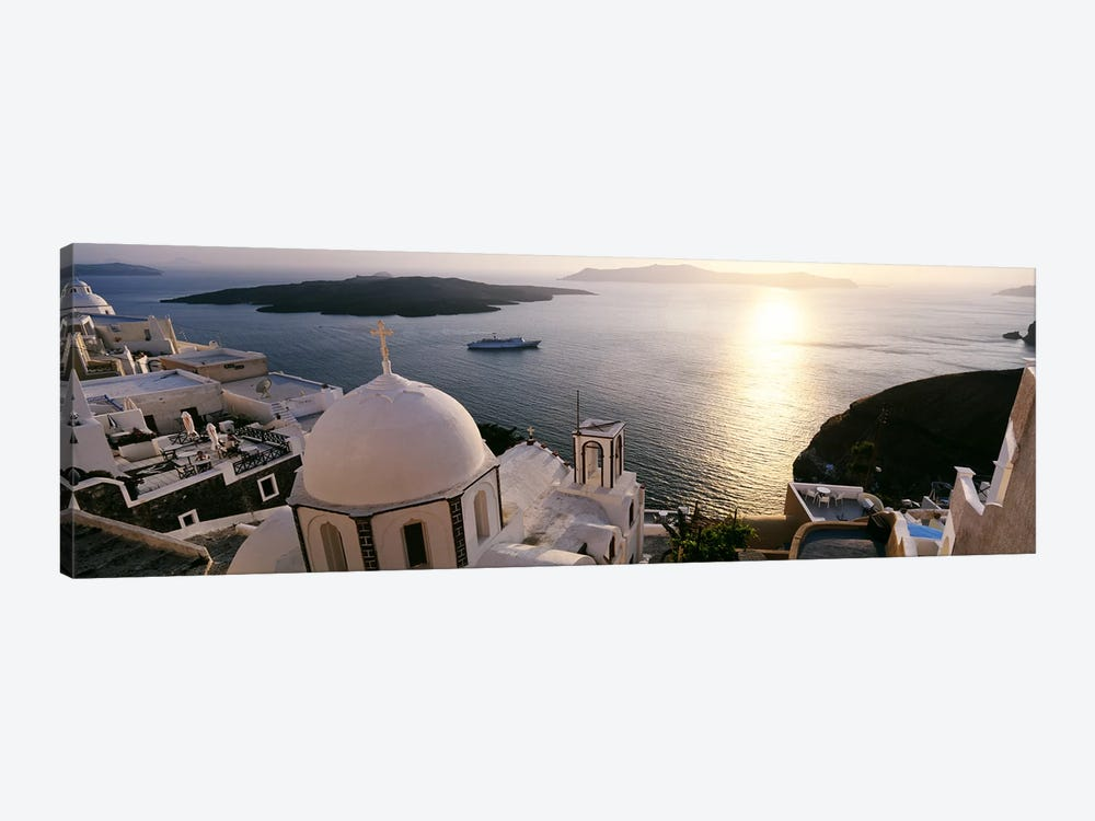 High angle view of buildings in a city, Santorini, Cyclades Islands, Greece by Panoramic Images 1-piece Canvas Print