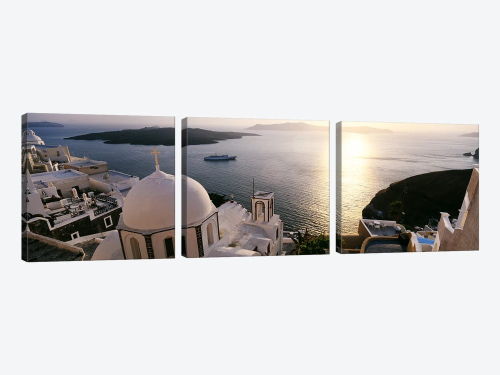 High angle view of buildings in a city, Santorini, Cyclades Islands, Greece by Panoramic Images 3-piece Canvas Print