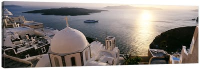 High angle view of buildings in a city, Santorini, Cyclades Islands, Greece Canvas Art Print