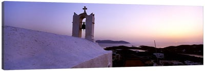 Bell tower on a building, Ios, Cyclades Islands, Greece Canvas Art Print