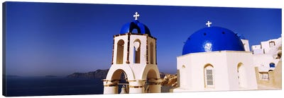 Church with sea in the background, Santorini, Cyclades Islands, Greece Canvas Print #PIM4429