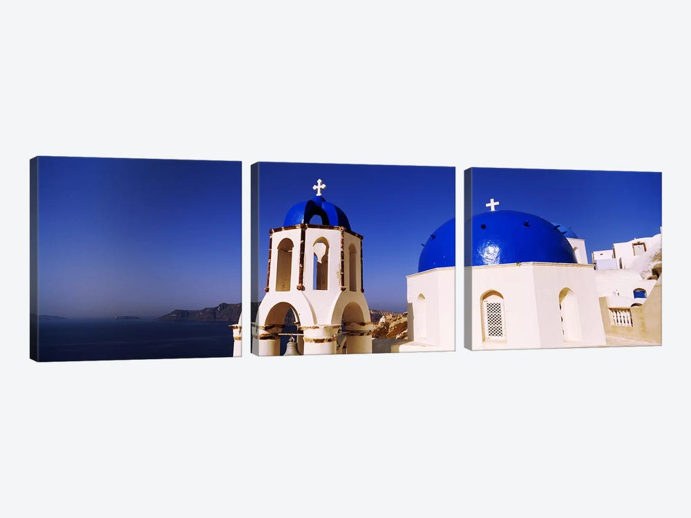 Church with sea in the background, Santorini, Cyclades Islands, Greece 3-piece Canvas Wall Art