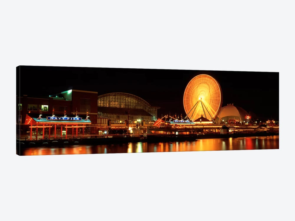 Night Navy Pier Chicago IL USA by Panoramic Images 1-piece Art Print
