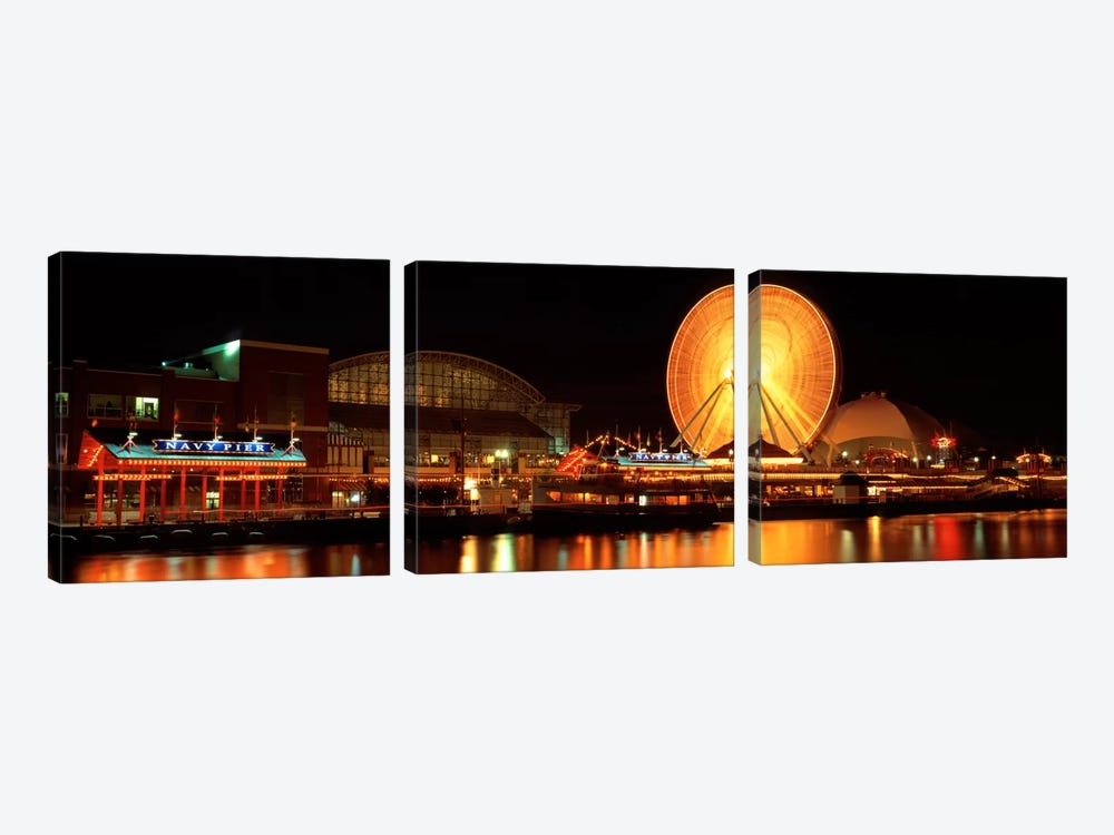 Night Navy Pier Chicago IL USA by Panoramic Images 3-piece Art Print