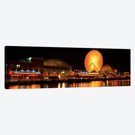 Night Navy Pier Chicago IL USA Canvas Print #PIM442} by Panoramic Images Canvas Art