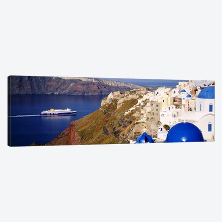 Buildings in a valley, Santorini, Cyclades Islands, Greece Canvas Print #PIM4430} by Panoramic Images Canvas Artwork