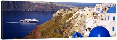 Buildings in a valley, Santorini, Cyclades Islands, Greece Canvas Art Print