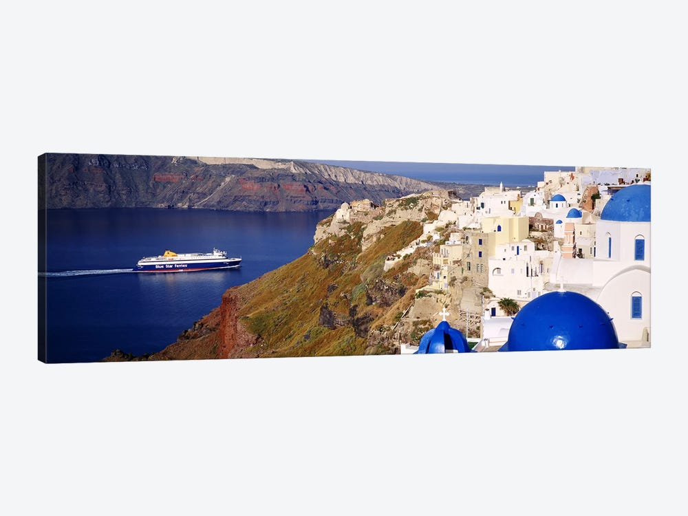 Buildings in a valley, Santorini, Cyclades Islands, Greece by Panoramic Images 1-piece Canvas Artwork