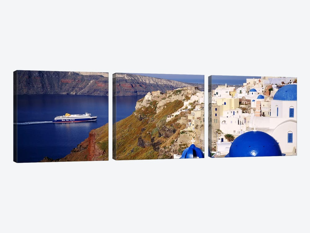 Buildings in a valley, Santorini, Cyclades Islands, Greece by Panoramic Images 3-piece Canvas Wall Art