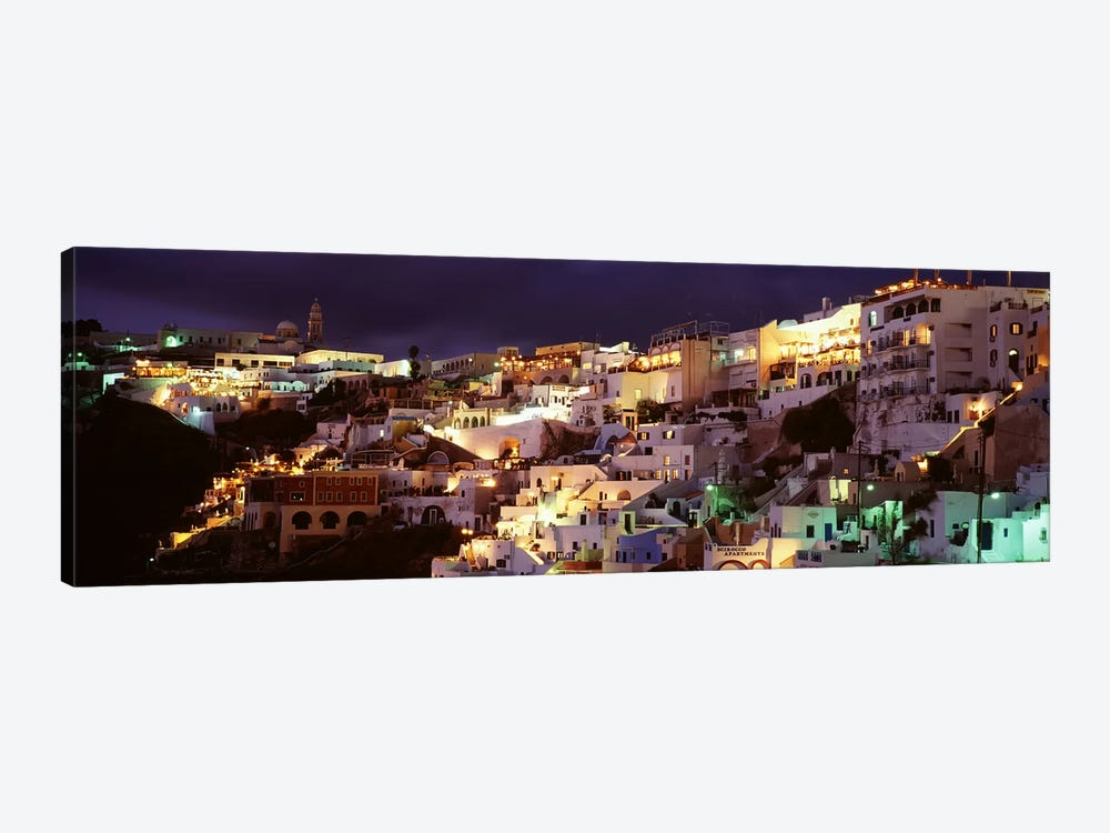 Coastal Cliffside Architecture At Night, Fira, Santorini, Cyclades, Greece by Panoramic Images 1-piece Canvas Print