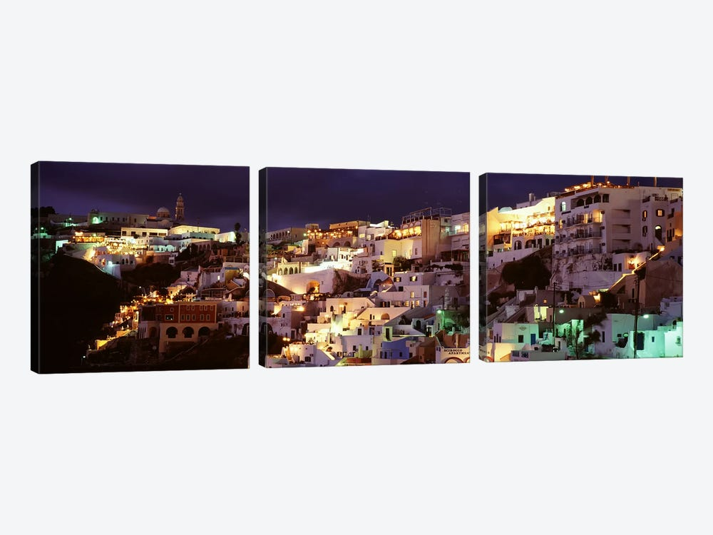 Coastal Cliffside Architecture At Night, Fira, Santorini, Cyclades, Greece by Panoramic Images 3-piece Canvas Art Print
