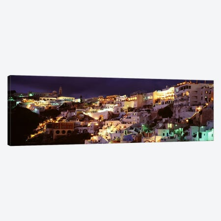 Coastal Cliffside Architecture At Night, Fira, Santorini, Cyclades, Greece 3-Piece Canvas #PIM4431} by Panoramic Images Canvas Artwork