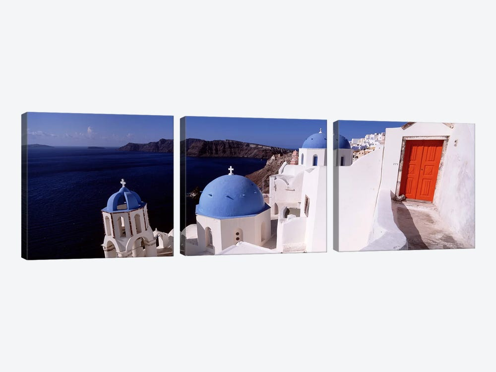 Church in a city, Santorini, Cyclades Islands, Greece by Panoramic Images 3-piece Canvas Print