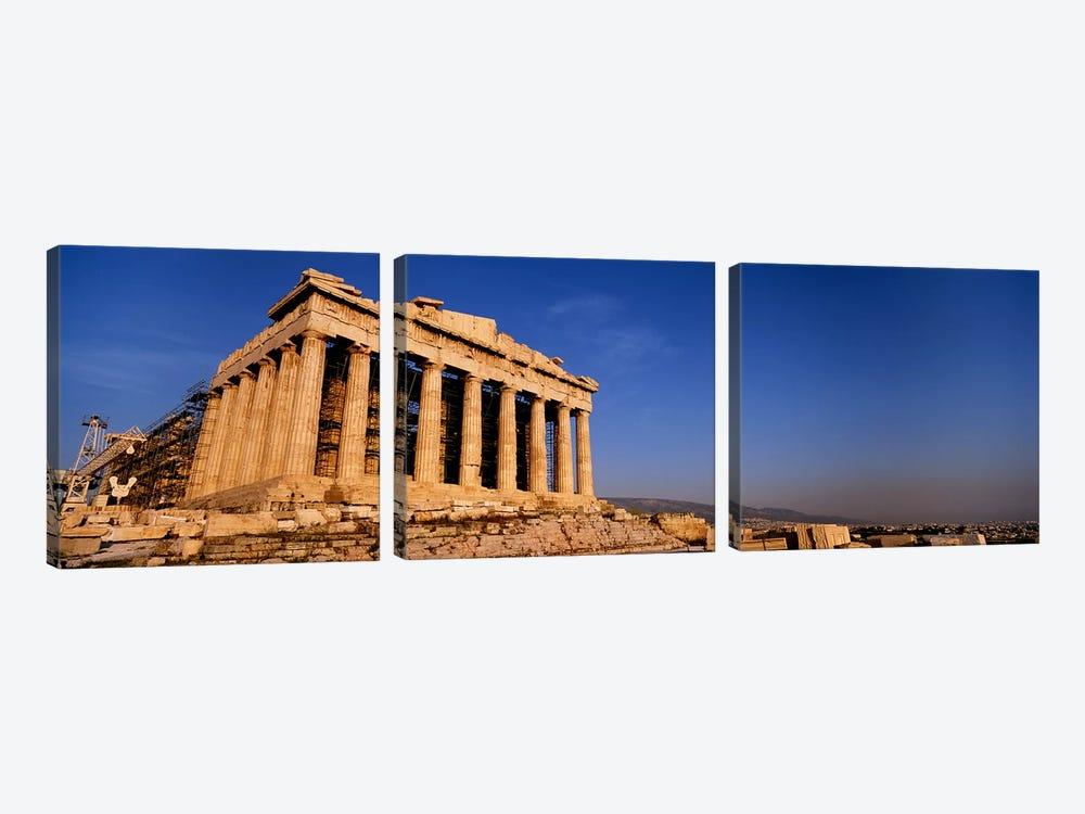 Ruins of a temple, Parthenon, Athens, Greece 3-piece Canvas Art