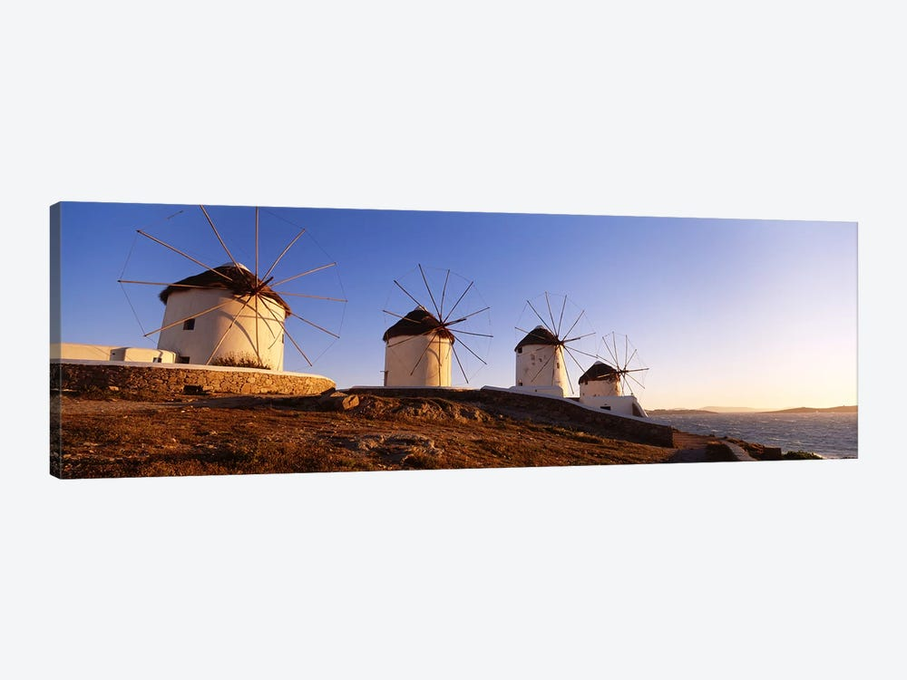 Low angle view of traditional windmills, Mykonos, Cyclades Islands, Greece by Panoramic Images 1-piece Art Print