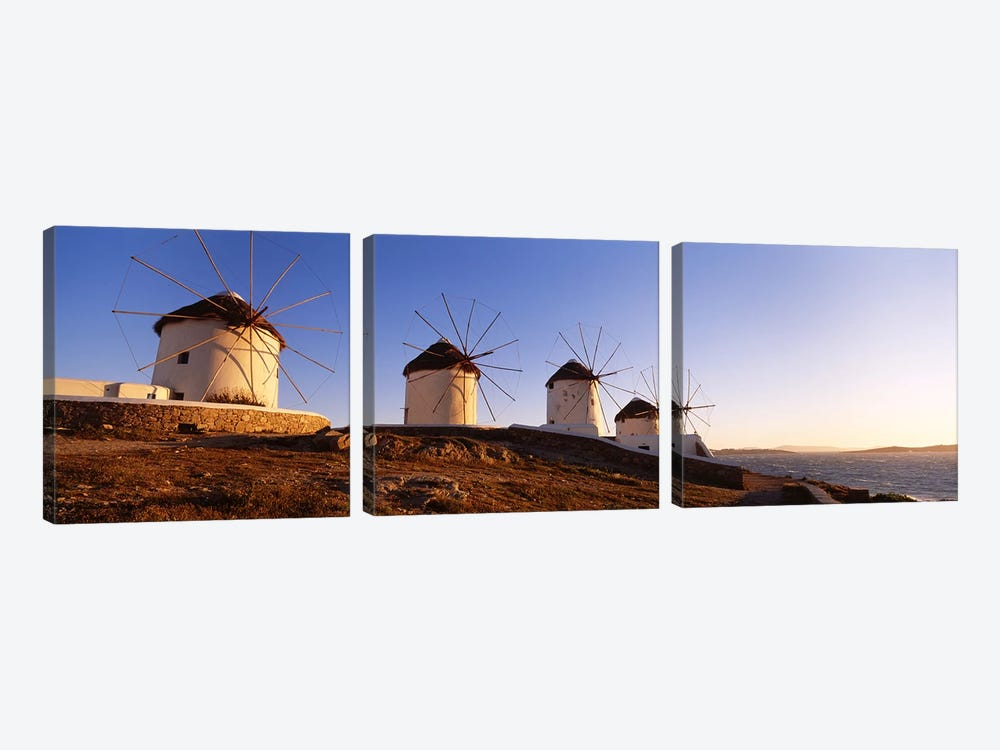 Low angle view of traditional windmills, Mykonos, Cyclades Islands, Greece by Panoramic Images 3-piece Canvas Print