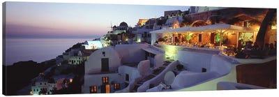 Coastal Village Landscape At Dusk I, Santorini, Cyclades, Greece Canvas Print #PIM4445