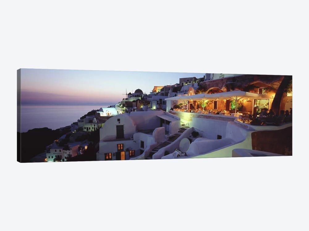Coastal Village Landscape At Dusk I, Santorini, Cyclades, Greece by Panoramic Images 1-piece Canvas Art