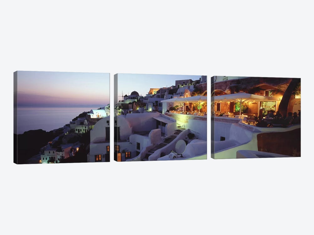 Coastal Village Landscape At Dusk I, Santorini, Cyclades, Greece by Panoramic Images 3-piece Canvas Art