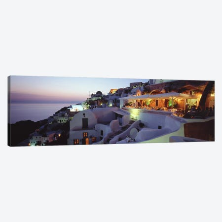 Coastal Village Landscape At Dusk I, Santorini, Cyclades, Greece Canvas Print #PIM4445} by Panoramic Images Canvas Art