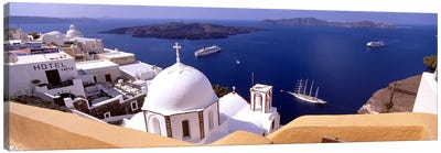 High angle view of buildings in a city, Santorini, Cyclades Islands, Greece #2 Canvas Print #PIM4449
