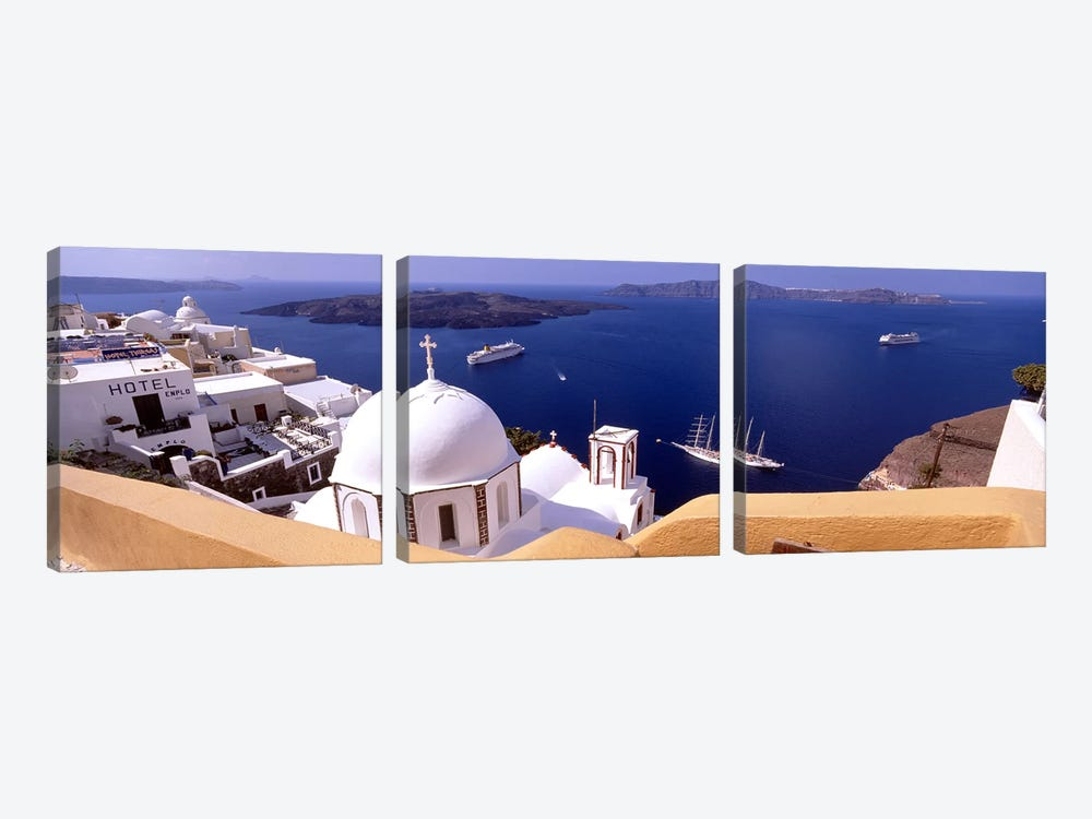 High angle view of buildings in a city, Santorini, Cyclades Islands, Greece #2 3-piece Canvas Wall Art