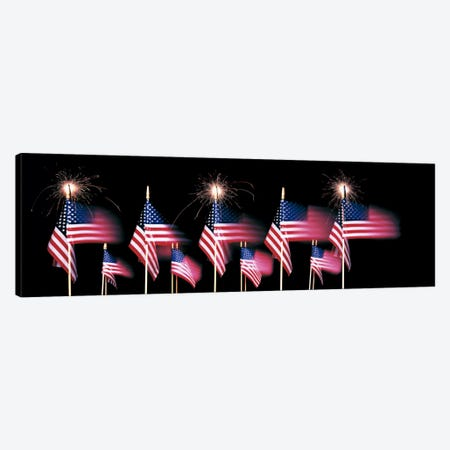 US Flags And Fireworks Canvas Print #PIM444} by Panoramic Images Canvas Art Print
