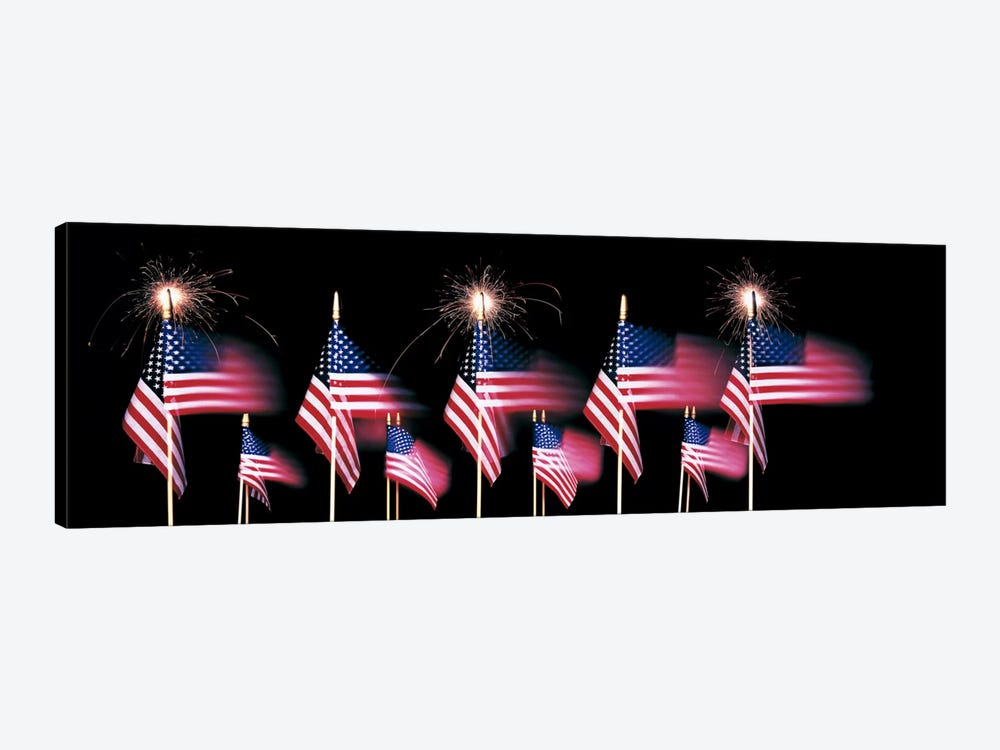 US Flags And Fireworks by Panoramic Images 1-piece Canvas Print