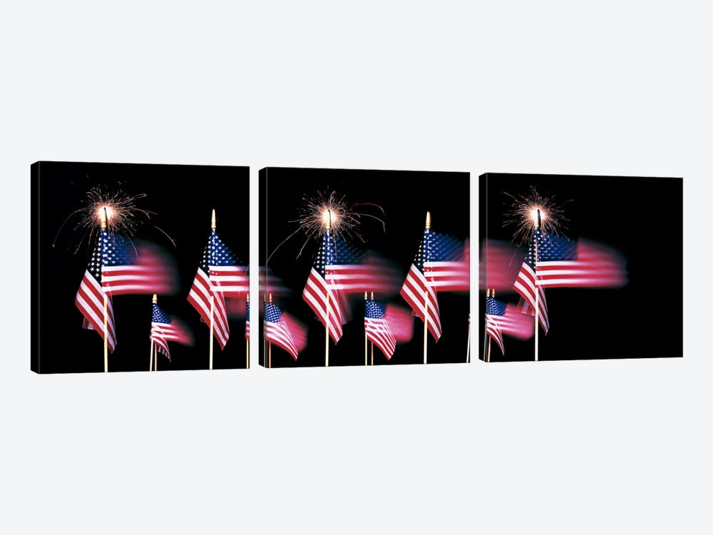 US Flags And Fireworks by Panoramic Images 3-piece Canvas Art Print