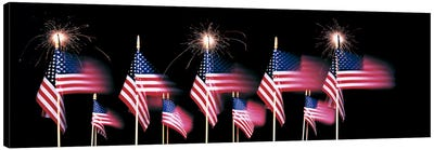 US Flags And Fireworks Canvas Art Print