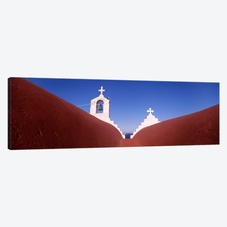 Low angle view of a bell tower of a church, Mykonos, Cyclades Islands, Greece Canvas Print #PIM4453} by Panoramic Images Canvas Artwork